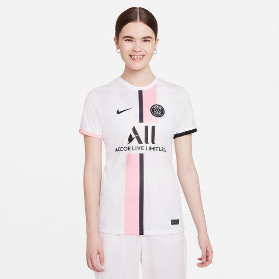 Camisa Paris Saint-Germain Away 21/22 s/n° Torcedor Nike Feminina - Branco+Preto
