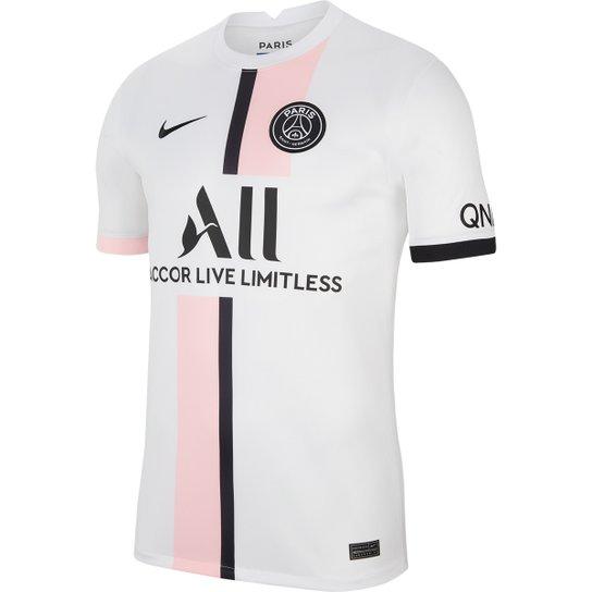 Camisa Paris Saint-Germain Away 21/22 s/n° Torcedor Nike Masculina - Branco+Preto