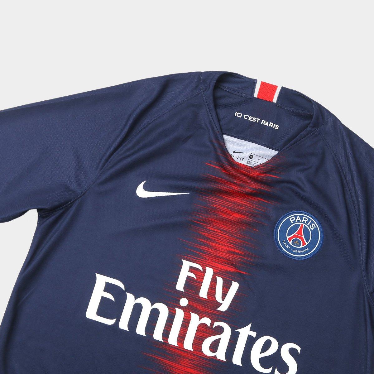 Camisa Paris Saint-Germain Home 18 19 s n° Torcedor Nike Masculina ... 7ce8636ed0c28