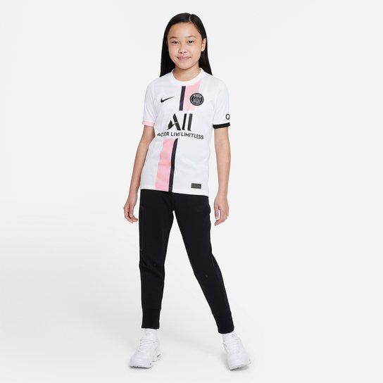 Camisa Paris Saint-Germain Juvenil Away 21/22 s/n° Torcedor Nike - Branco+Preto