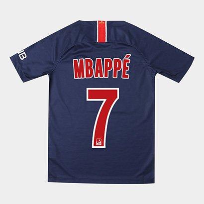 Camisa Paris Saint-Germain Juvenil Home 18/19 Nº 7 Mbappé Torcedor Nike - Unissex