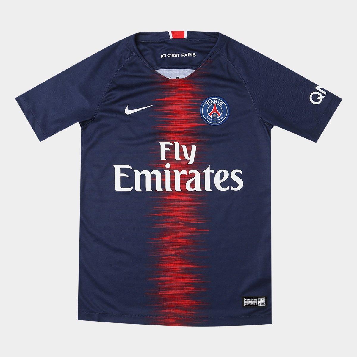 9938e9ffb5dc2 Camisa Paris Saint-Germain Juvenil Home 18 19 s n° Torcedor Nike - Azul -  Compre Agora