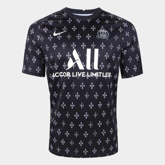 Camisa Paris Saint-Germain Pré Jogo 21/22 Nike Masculina - Preto+Branco