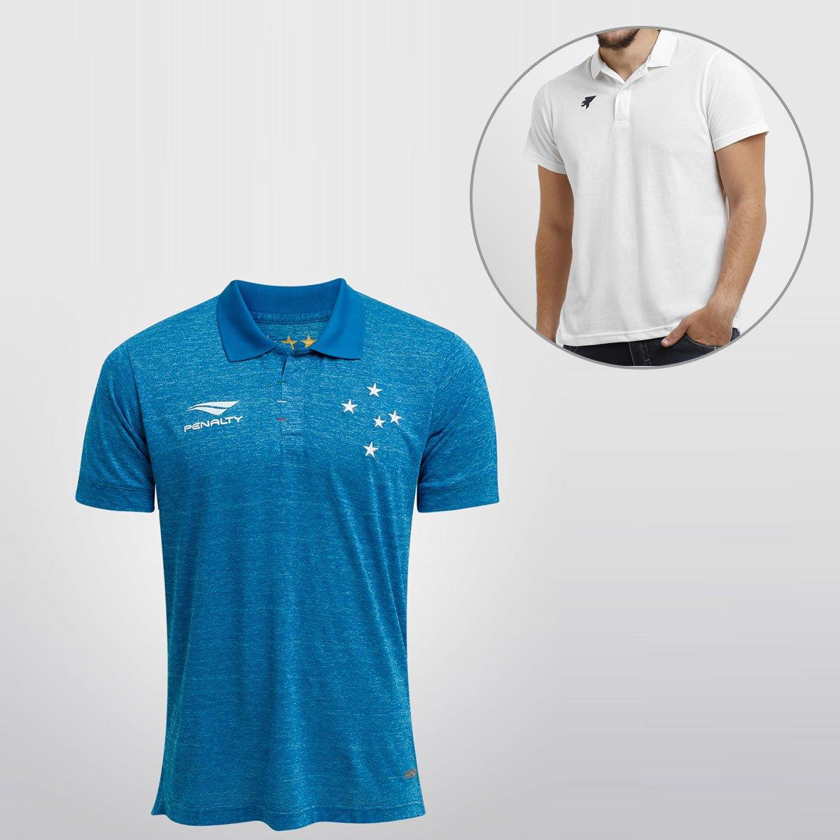 325132873a344 Camisa Penalty Cruzeiro III 15 16 s nº + Camisa Polo Joma - Compre Agora