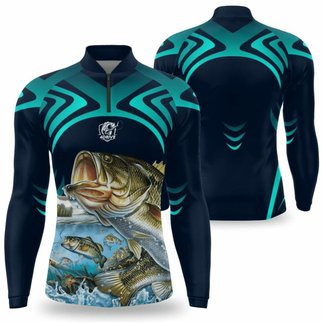 Camisa Pesca Masculina manga longa UV Camiseta para pescaria com secagem rápida