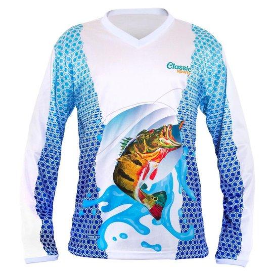 Camisa Pesca Proteção Solar UV Manga Longa Classic Sports - Branco+Azul