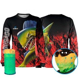 Camisa Pesca Quisty Dourado do Mar Dryfit Camisa + Máscara