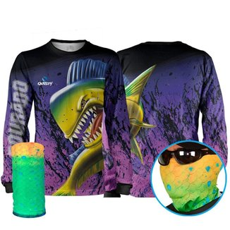 Camisa Pesca Quisty Dourado do Mar Plus Size Proteção UV Dryfit + Máscara
