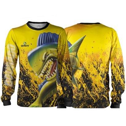 Camisa Pesca Quisty Dourado do Mar Proteção UV Dryfit