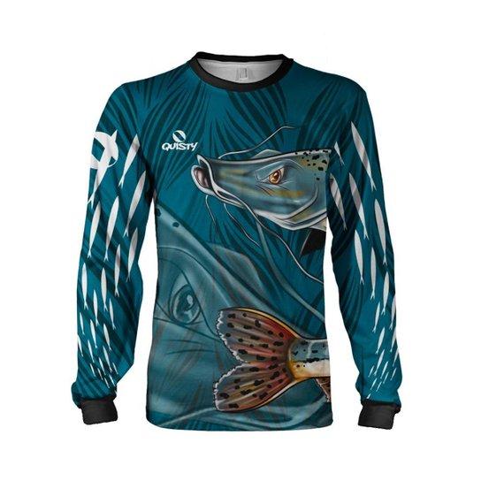Camisa Pesca Quisty Pintado Proteção UV Dryfit - Azul