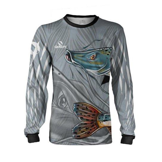 Camisa Pesca Quisty Pintado Proteção UV Dryfit - Cinza