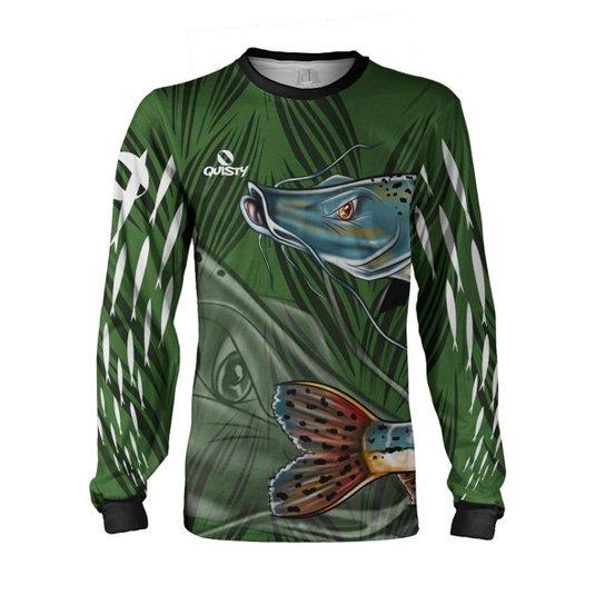 Camisa Pesca Quisty Pintado Proteção UV Dryfit - Verde
