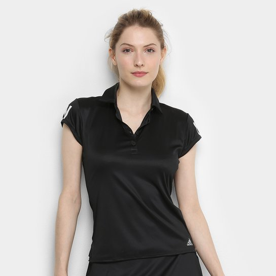 Camisa Polo Adidas Club 3 Stripes Feminina - Preto+Prata