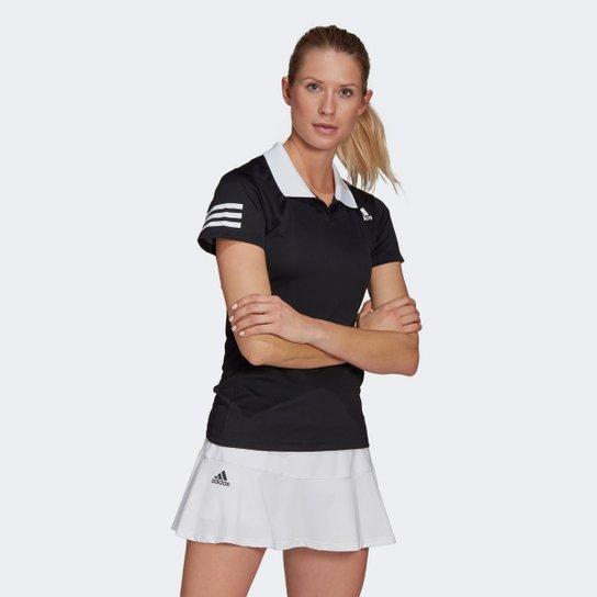 Camisa Polo Adidas Club Feminina - Preto+Branco