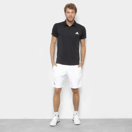 Camisa Polo Adidas Club Masculina - Preto+Branco