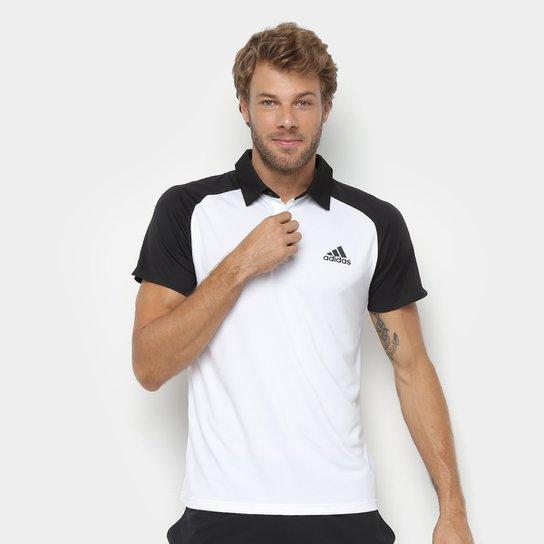 Camisa Polo Adidas Club Masculina - Branco+Preto