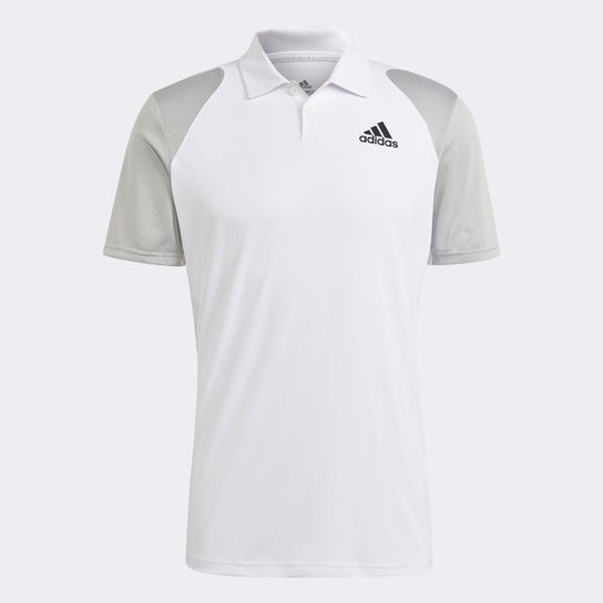 Camisa Polo Adidas Club Masculina - Branco+Cinza