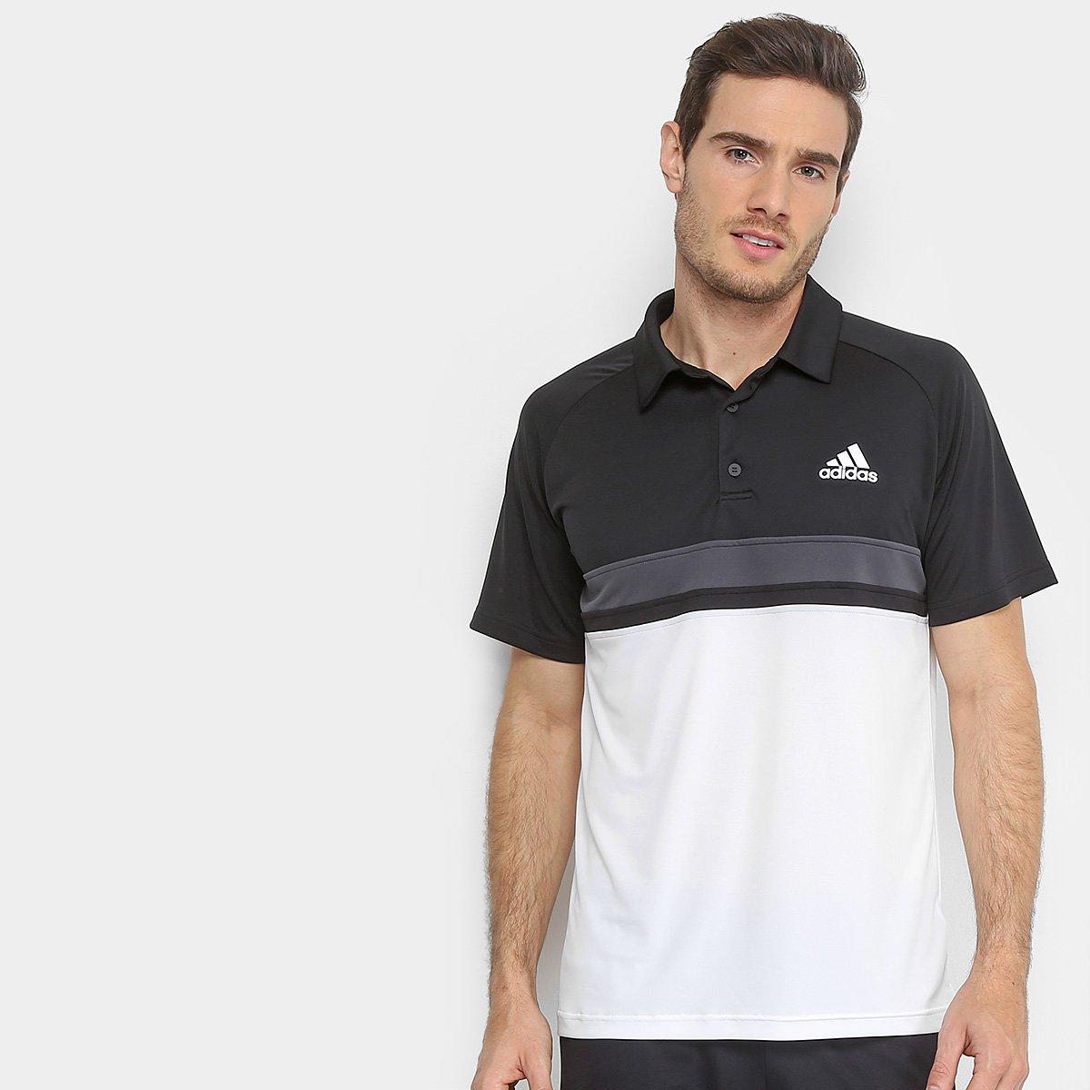 2fc27683e7f52 Camisa Polo Adidas ColorBlock Club Masculina - Preto e Branco - Compre Agora