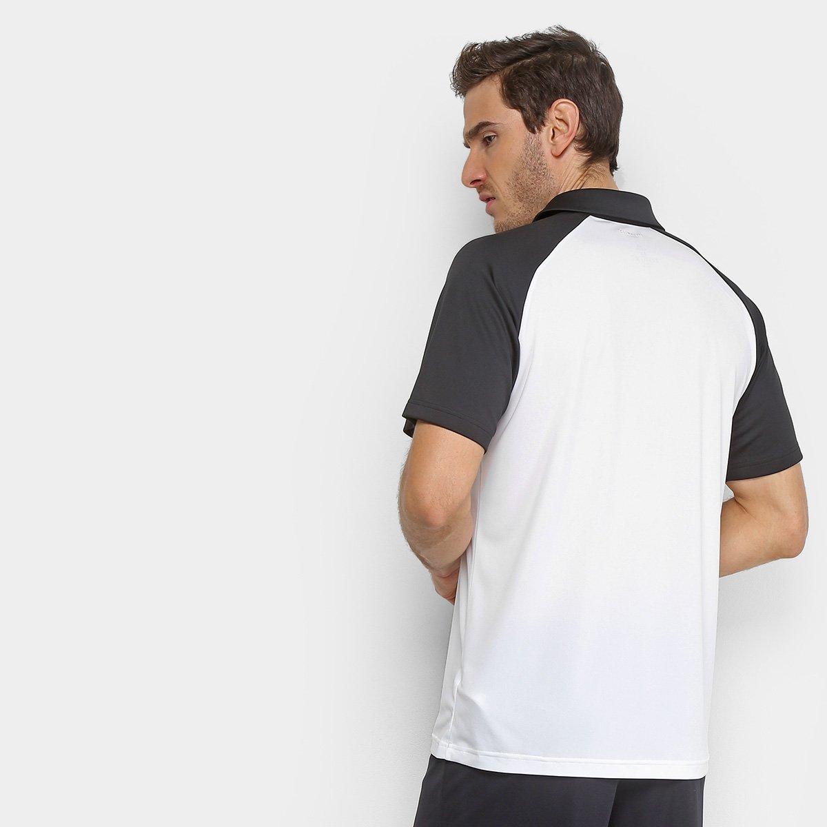 Camisa Polo Adidas ColorBlock Club Masculina - Preto e Branco ... 859b302f8b40f