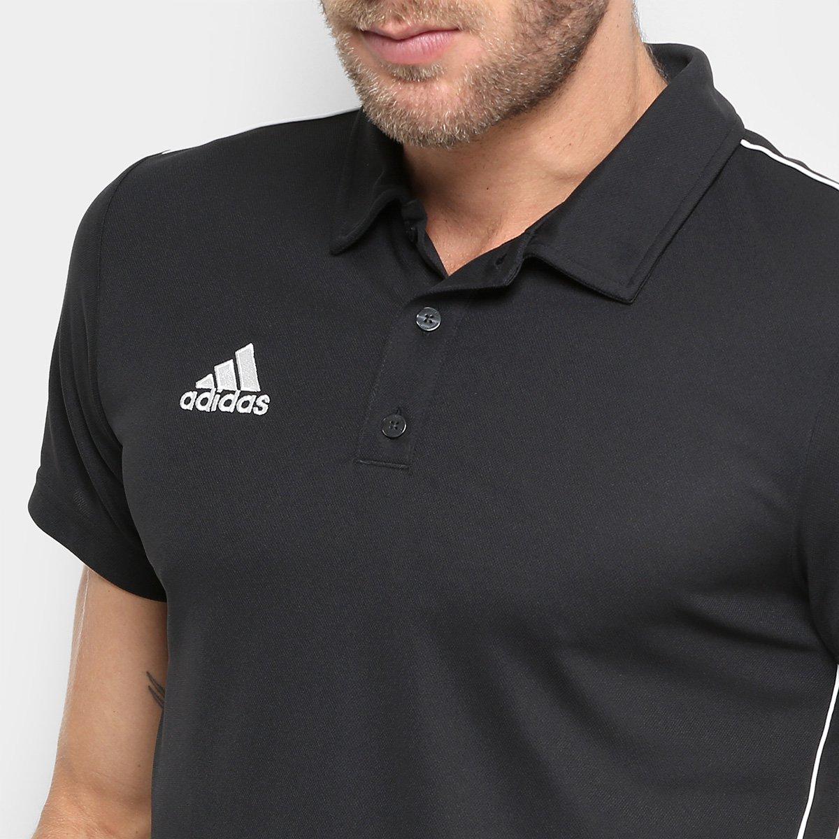 Camisa Polo Adidas Core 18 Masculina - Preto e Branco - Compre Agora ... bc3e221f2db67