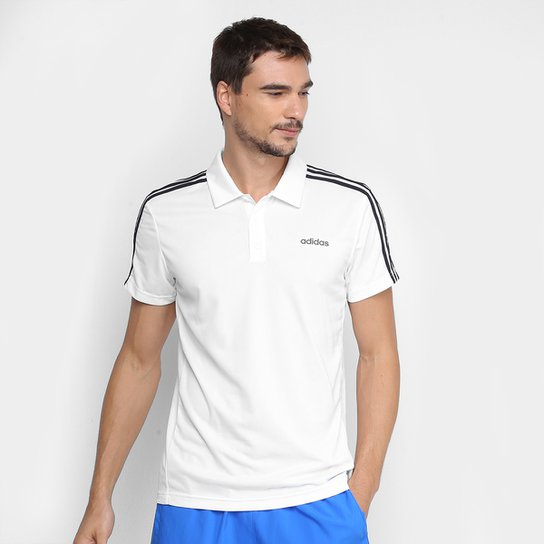 Camisa Polo Adidas Design 2 Move Ar 3-Stripes Masculina - Branco+Preto