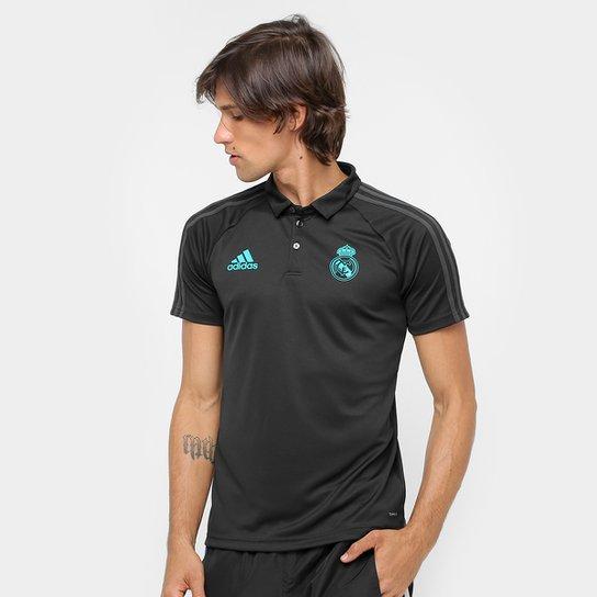 Camisa Polo Adidas Real Madrid Viagem - Preto