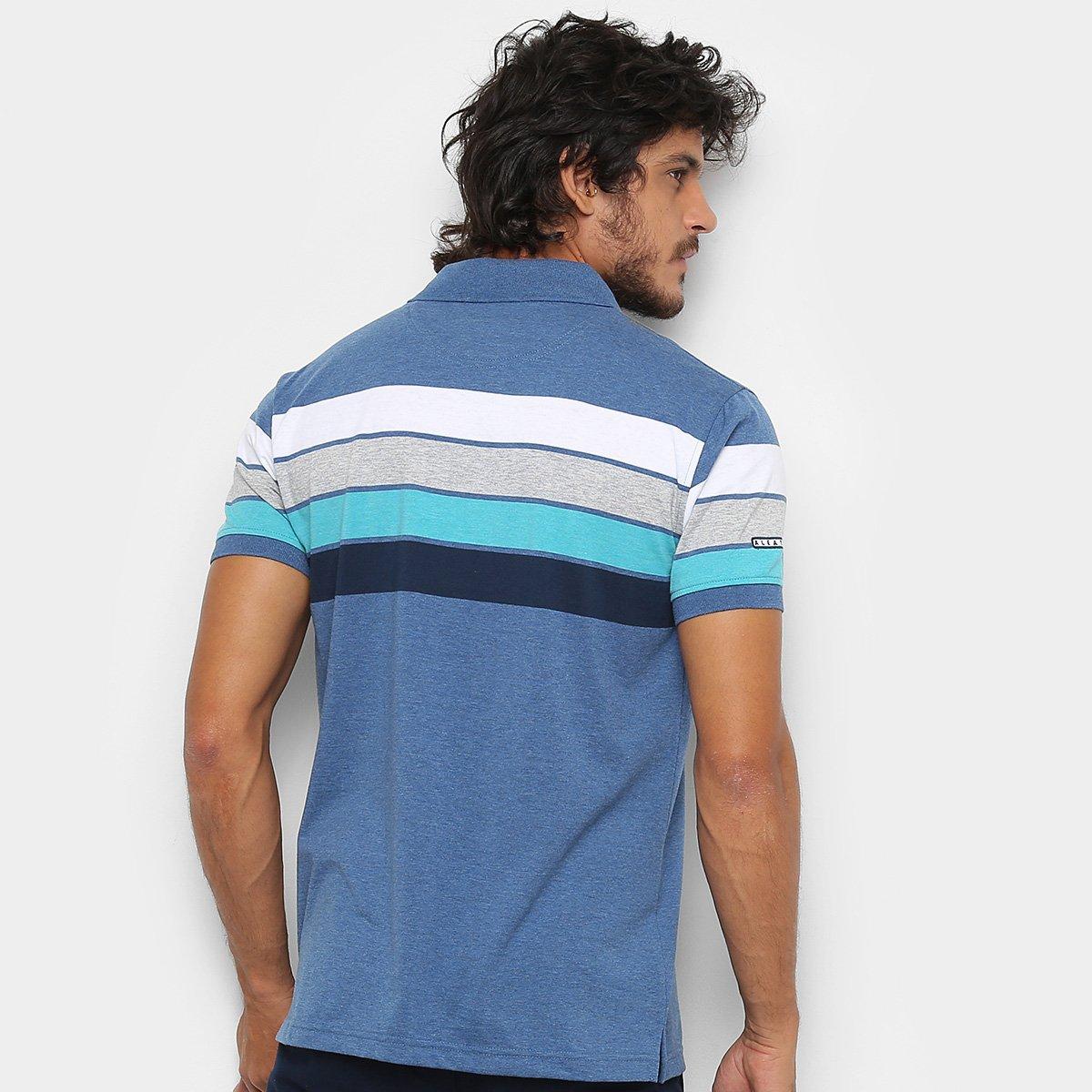 b7f61ea43f Camisa Polo Aleatory Fio Estampa Listrada Masculina - Azul e Branco ...