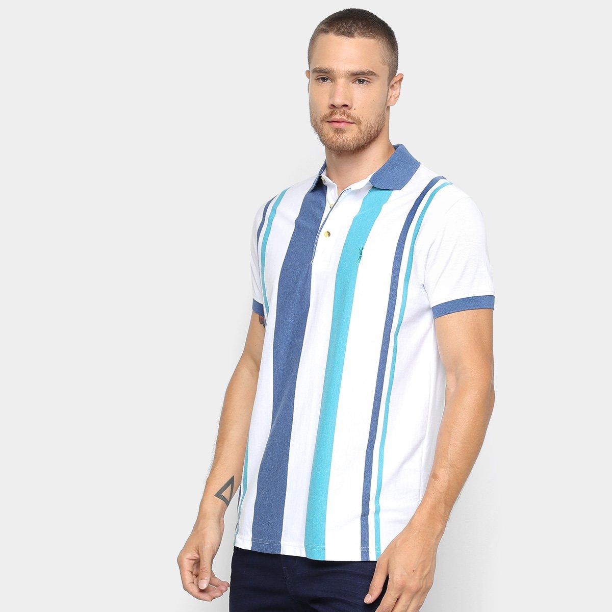f891750954901 Camisa Polo Aleatory Fio Tinto Listrada Masculina - Azul e Branco - Compre  Agora