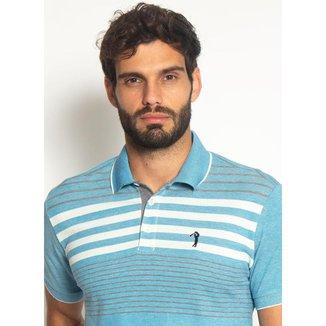Camisa Polo Aleatory Listrada Piquet Binado Smooth Azul-Azul-GG