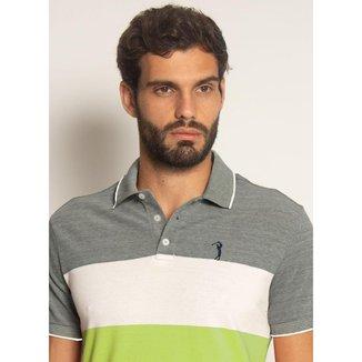 Camisa Polo Aleatory Listrada Piquet Out Verde-Verde-GG