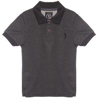 Camisa Polo Aleatory Mini Print Kids UP Masculina