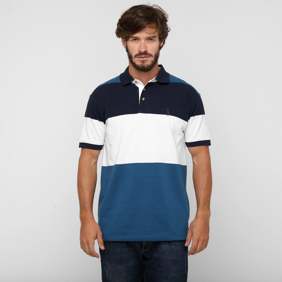 Camisa Polo Aleatory Piquet Listras - Marinho+Branco 9b3a23d6980cf