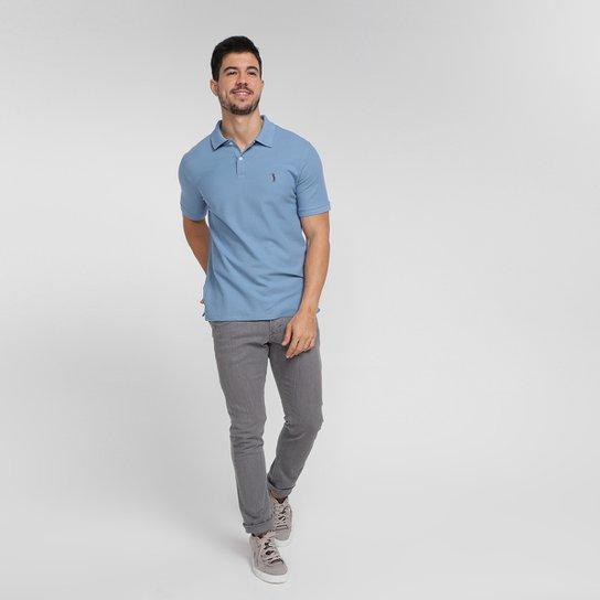Camisa Polo Aleatory Piquet Masculina - Azul