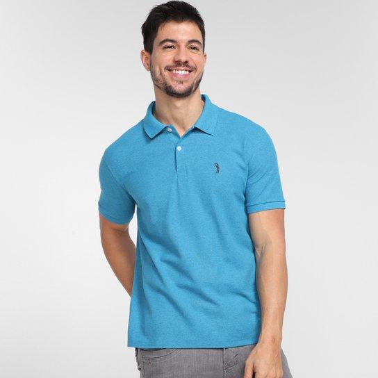 Camisa Polo Aleatory Piquet Masculina - Azul+Cinza