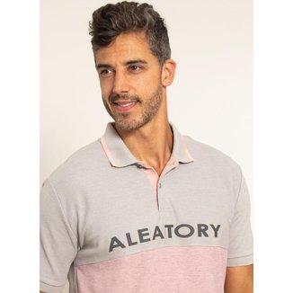 Camisa Polo Aleatory Piquet Recortada Half Cinza-Cinza-G