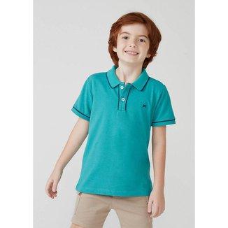 Camisa Polo Básica Menino De Algodão Com Bordado Hering Kids - 53C2NCMEN8