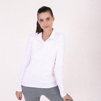 Camisa Polo Basicamente Manga Longa Feminina