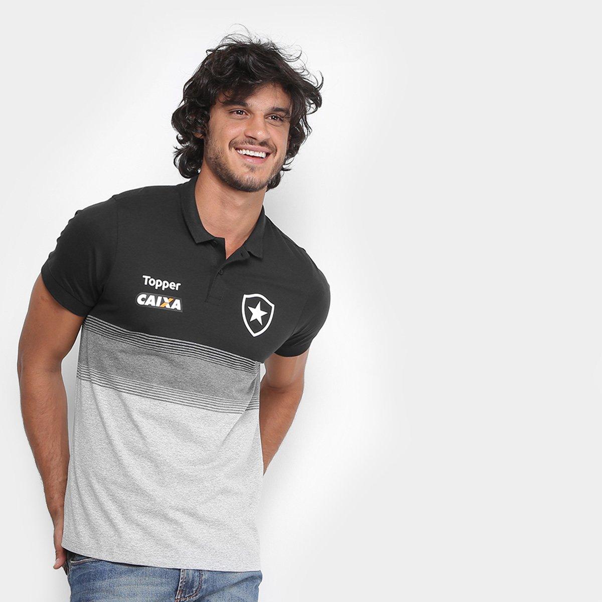 46874e47fdff5 Camisa Polo Botafogo Viagem Topper Masculina - Preto e Chumbo - Compre  Agora