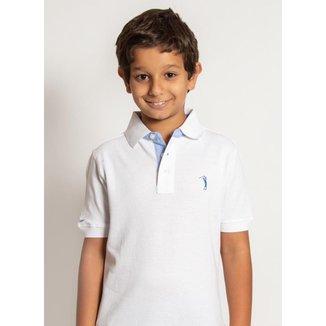 Camisa Polo Branca Lisa Infantil Aleatory Masculina