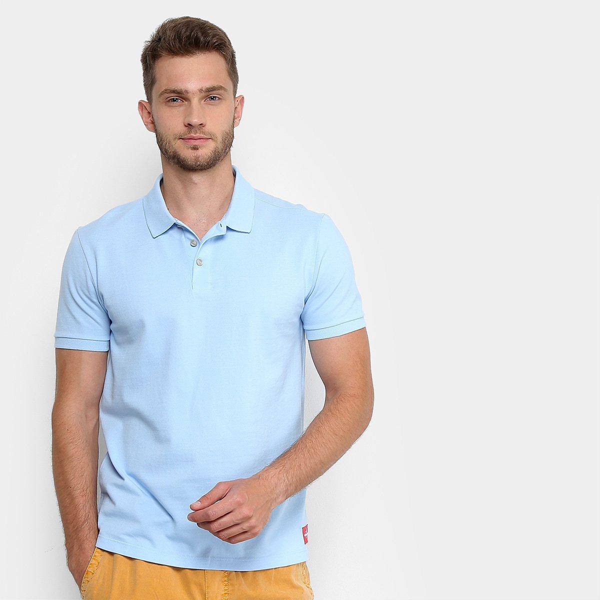4fa71a41d9a7d Camisa Polo Calvin Klein Básica Masculina - Azul Claro - Compre Agora
