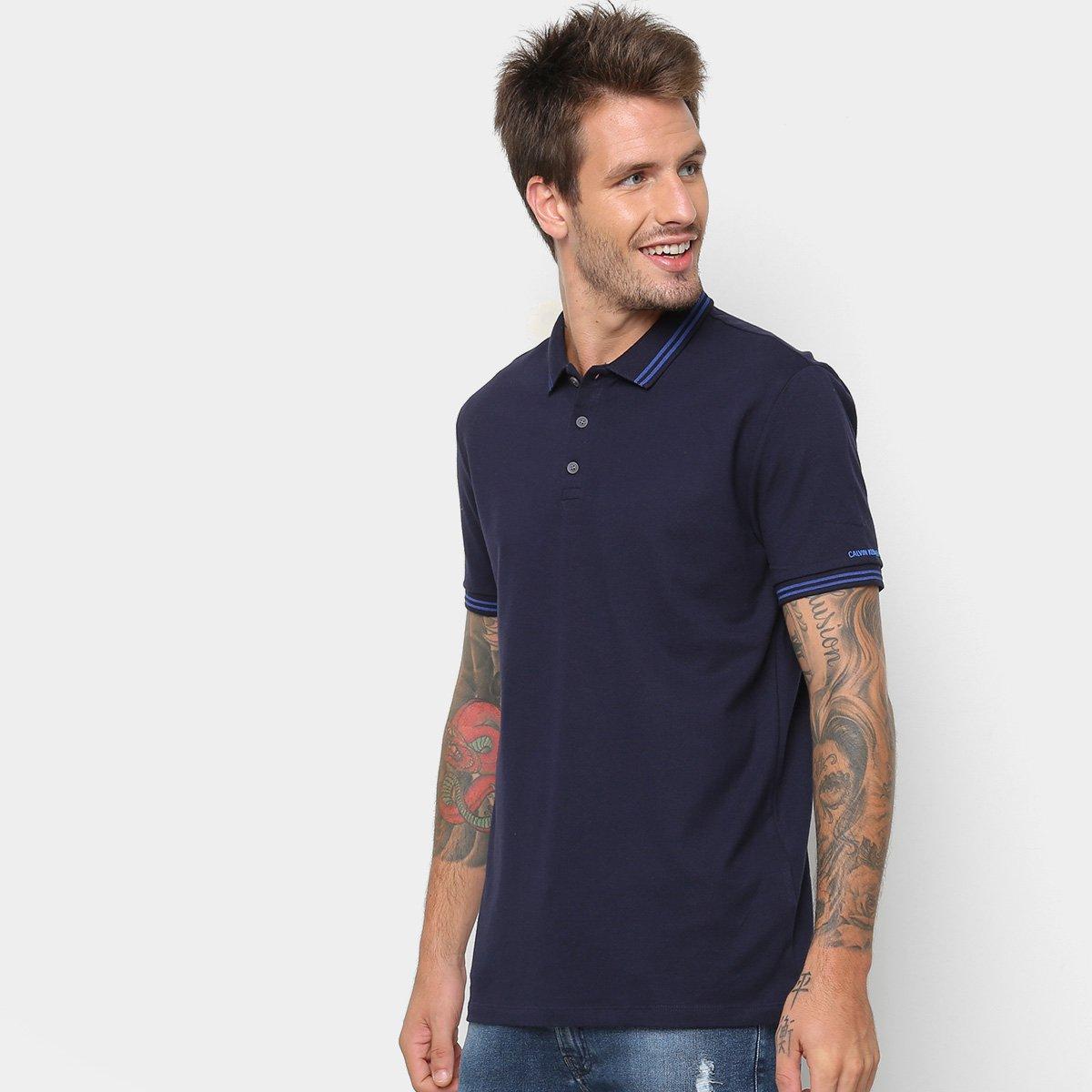369bbc21e9 Camisa Polo Calvin Klein Listras Masculina - Marinho - Compre Agora ...