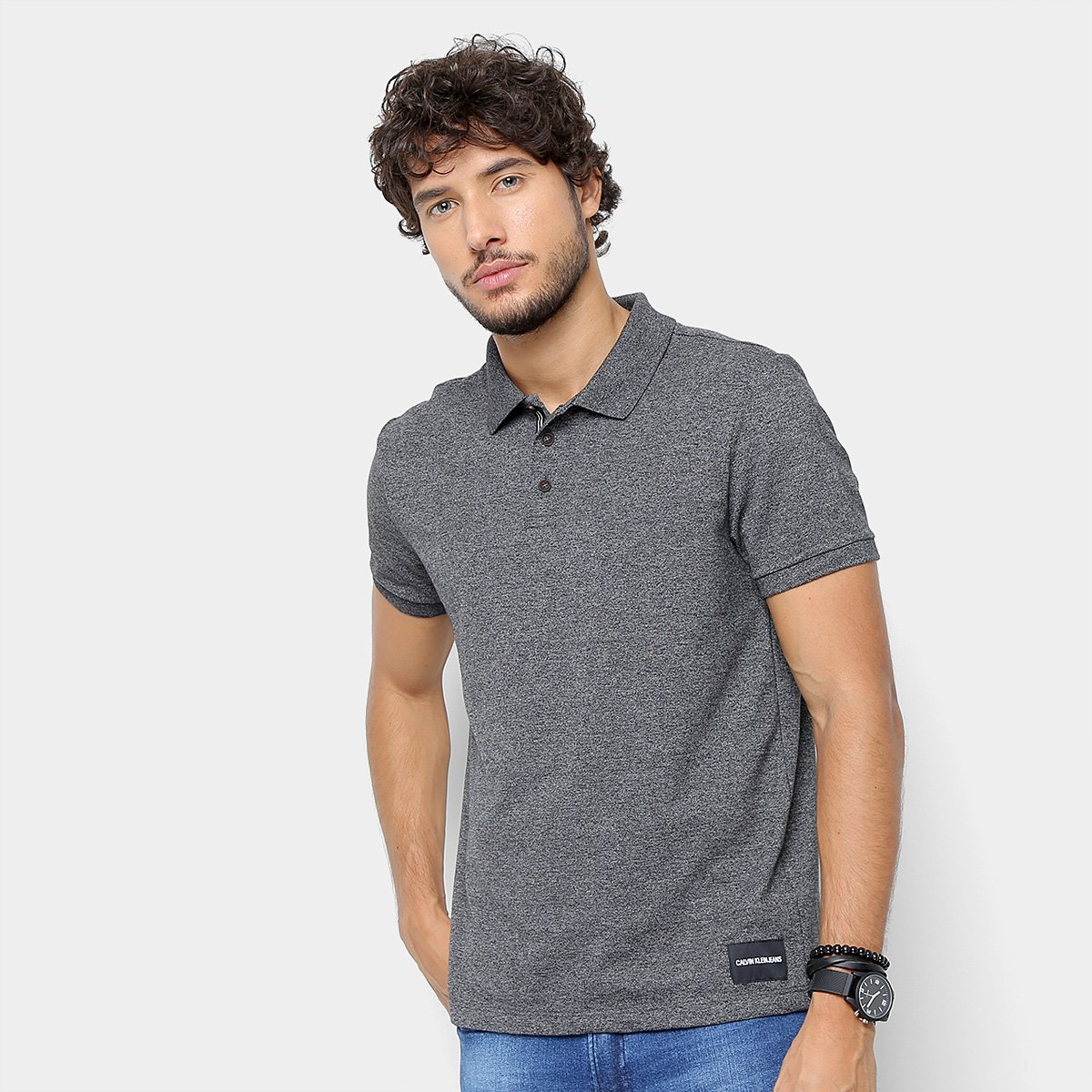 97cae33cce87f Camisa Polo Calvin Klein Mesclada Masculina - Cinza - Compre Agora ...