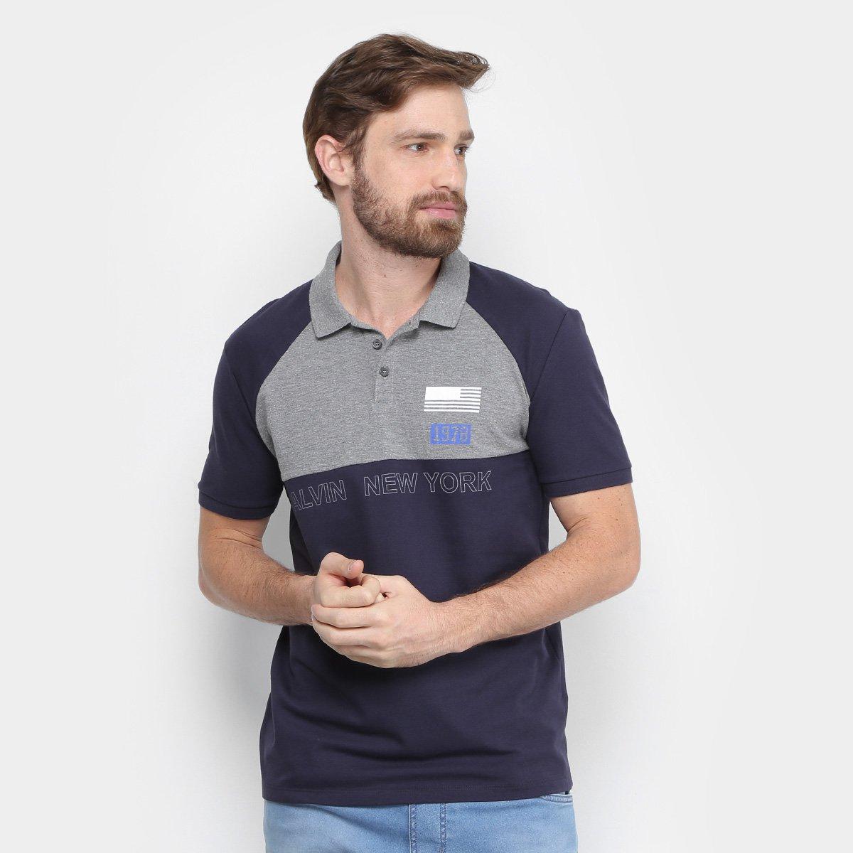 919125836f Camisa Polo Calvin Klein Piquet Estampada Masculina - Compre Agora ...