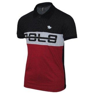 Camisa Polo Com Recorte em Malha Pontilhada