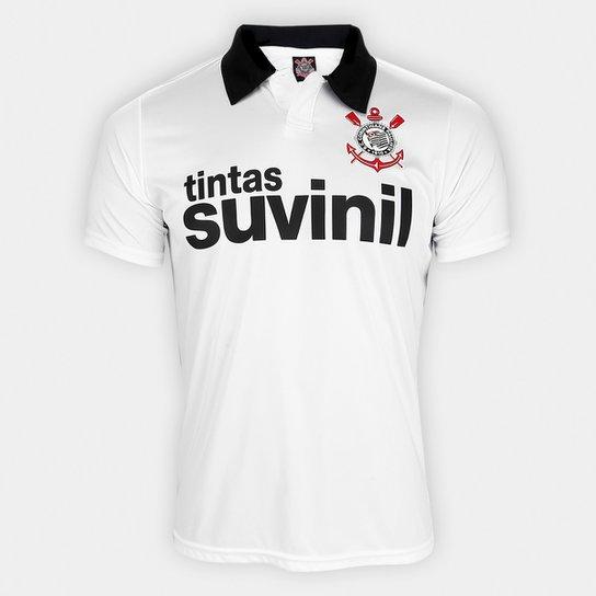 Camisa Polo Corinthians 1995 n° 9 Masculina - Branco+Preto
