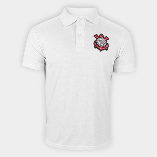 Camisa Polo Corinthians Piquet Masculina - Branco