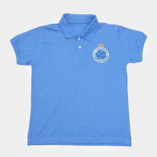 Camisa Polo Cruzeiro Hat Trick Juvenil - Azul