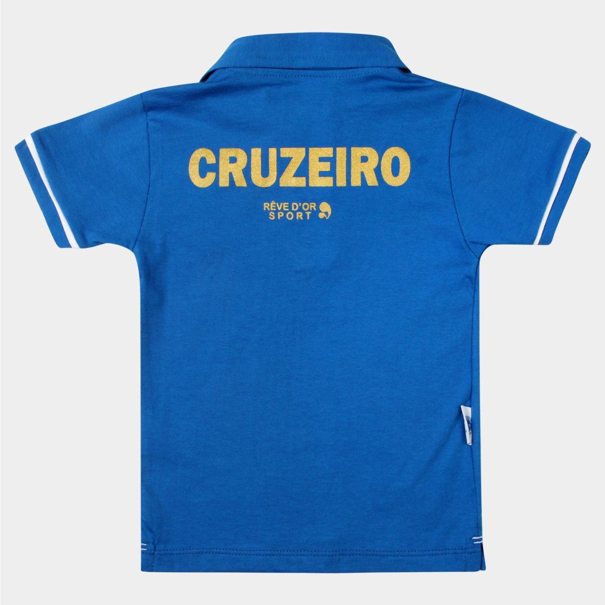 Camisa Polo Cruzeiro Infantil - Azul e Branco - Compre Agora  2667e26e7c656
