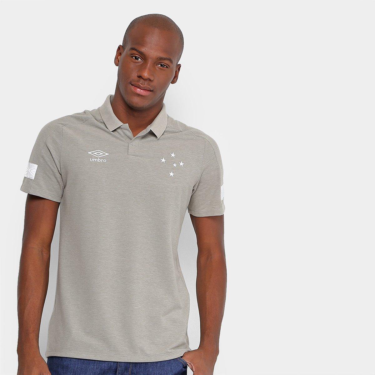Camisa Polo Cruzeiro Viagem 2018 Umbro Masculina - Cinza - Compre ... 86e3a3275d9ef