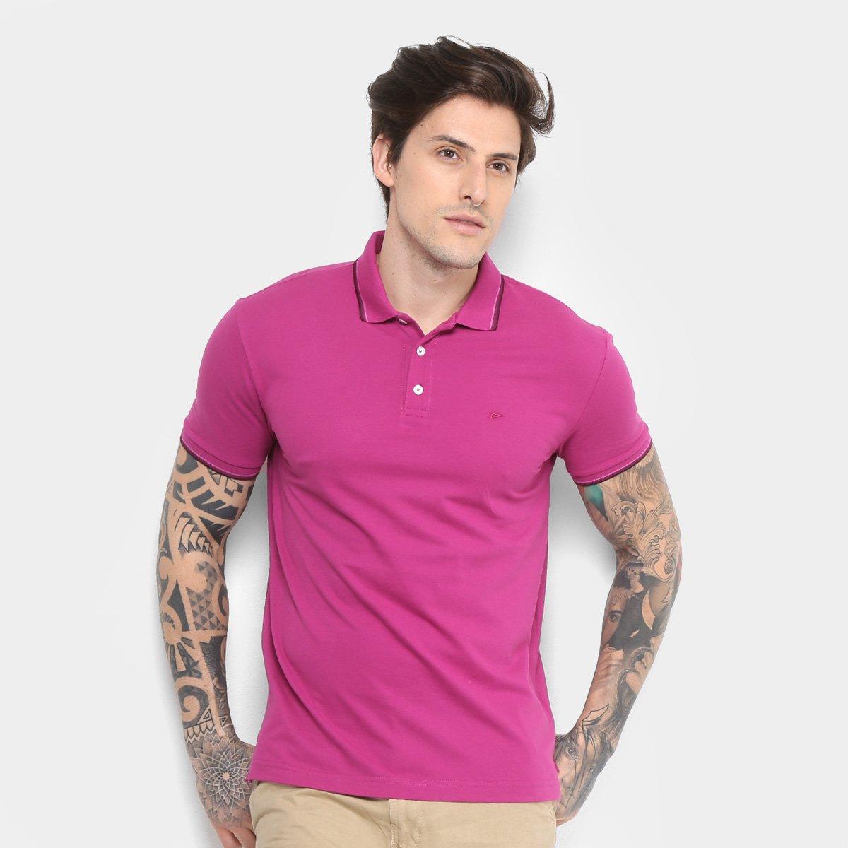 Camisa Polo Ellus Asa Frisos Classic Masculina - Rosa Escuro ... 682022a078f40